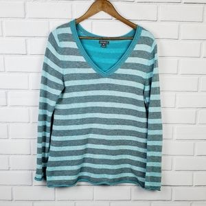 Eddie Bauer Turquoise Long Sleeve Striped Shirt